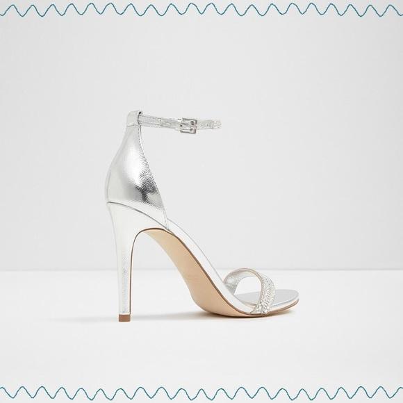 ab66225e5b9e Aldo Ciasa Silver Heeled Dress Sandals